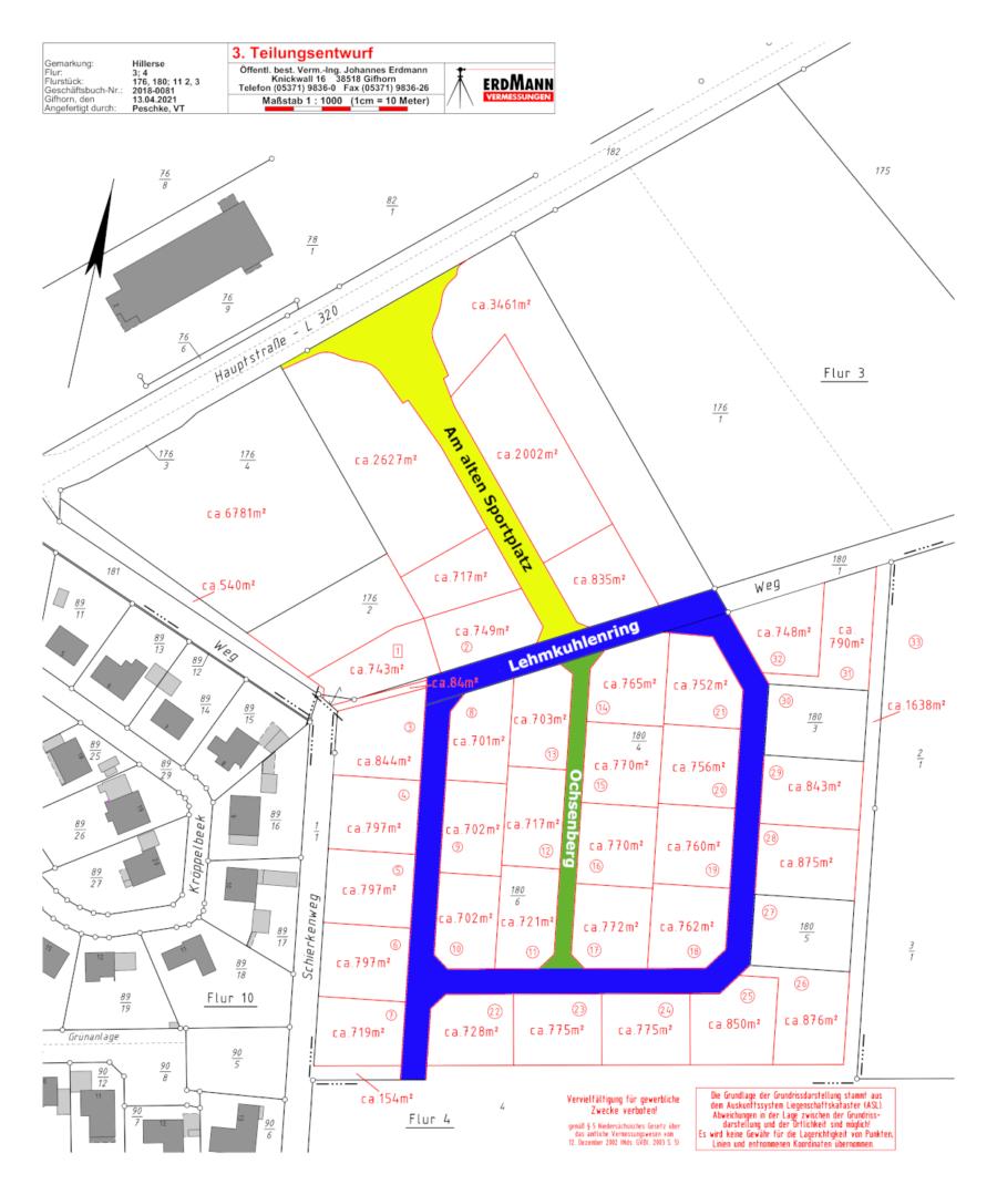 Grundstücksplan Baugebiet Schierkenweg-Nordost Hillerse
